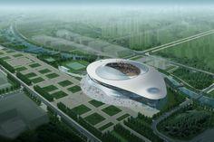 Obiekt stadionu o ciekawym kształcie