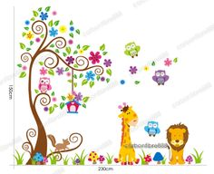 Owl Scorll Tree Colourful Flower Wall Stickers Decal Paper Giraffe Nursery Decor | eBay