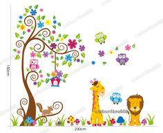 Owl Scorll Tree Colourful Flower Wall Stickers Decal Paper Giraffe Nursery Decor | eBay