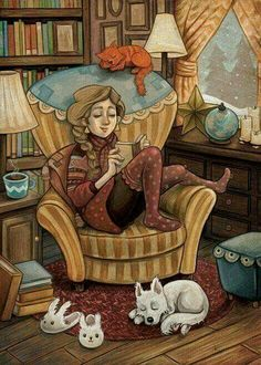 Books, Cats, Tea, Dogs, and a Cozy Library. Is there anything nicer or more comfortable? I Love Books, Good Books, My Books, Illustrations, Illustration Art, Reading Art, Woman Reading, Reading Books, Girl Reading Book