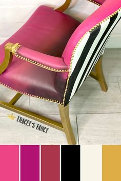 Can you paint leather with chalk paint? Yes! Click over to the blog to learn how to paint leather furniture using Dixie Belle Chalk Paint. Tracey Bellion #traceysfancy Tracey's Fance Peony Plum Crazy Muscadine Wine Caviar Fluff Liquid Gold Leaf Metallic Gold Paint Gold Accents Black And White Stripes Pink And Gold Pink Furniture Pink Chalk Painted Furniture Chalk Painted Chairs Chalk Paint Colors Chalk Paint Furniture Ideas #dixiebellepaint #bestpaintonplanetearth Pink Furniture, Leather Furniture, Shabby Chic Furniture, Furniture Ideas, Furniture Design, Refinished Furniture, Furniture Makeover, Chalk Paint Chairs, Painted Chairs