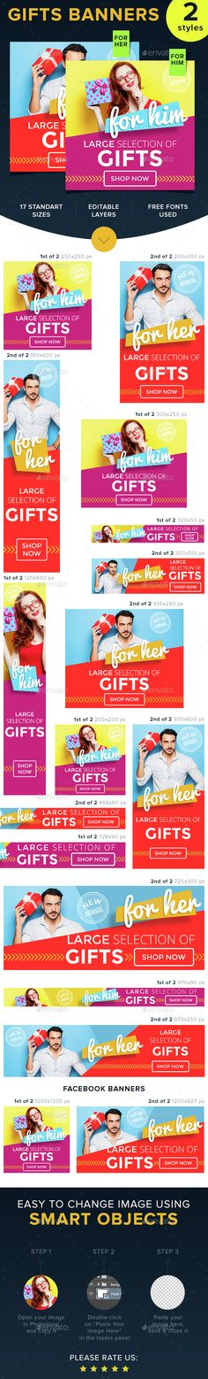 Gifts for Her & Him — Photoshop PSD #men #date • Available here → https://graphicriver.net/item/gifts-for-her-him/14716291?ref=pxcr