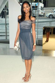 June 15, 2009 ~ She wears an off-the-shoulder Calvin Klein Resort dress to the 2009 CFDA Fashion Awards.