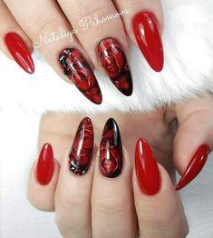 Fancy Nails, Red Nails, Magic Nails, Almond Acrylic Nails, Flower Nails, Perfect Nails, Wedding Nails, Pedicure, Curly Hair Styles