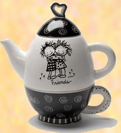 Enesco Children of the Inner Light Tea for One Friends Teapot >>> You can get additional details at the image link. Tea For One, My Tea, Chocolate Pots, Chocolate Coffee, Cute Teapot, Painted Mugs, Pottery Sculpture, Mad Hatter Tea, Tea Party