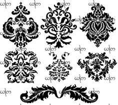 Damask Clip Art 2 - Graphic Design Pattern clipart for your art projects