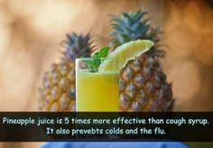 Le jus d'Ananas est 5 fois plus efficace que le sirop pour la toux. Il aide aussi à lutter contre la grippe et le rhume.