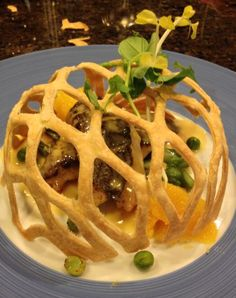 Pastry Trellis with pea tendril garnish for a private party.