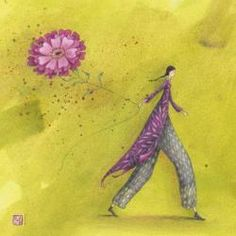 Carte Gaëlle Boissonnard - Fleur cerf-volant - 14x14 cm