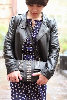 Leather, studs and floral dress, street style