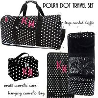 Monogrammed 3 Piece Travel Set - Polka Dot  -Black / White - FREE SHIP