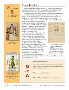 Annie Oakley was the superstar of the wild west! Learn more about this Ohio sharpshooter with this worksheet on famous women in history.