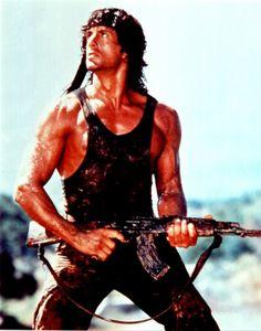 Sylvester Stallone as John Rambo (Rambo, First Blood) Rambo 2, John Rambo, Sylvester Stallone Rambo, Charles Bronson, Hero Movie, Movie Tv, Pulp Fiction, Silvestre Stallone, Por Tras Das Cameras