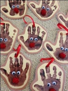 Handprint reindeer ornaments for Rudolph reindeer crafts for kids. … Handprint reindeer ornaments for Rudolph reindeer crafts for kids. Kids Crafts, Winter Crafts For Toddlers, Preschool Christmas Crafts, Daycare Crafts, Holiday Crafts, Christmas Decorations For Classroom, Holiday Classrooms, Santa Crafts, Preschool Projects