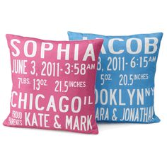 custom birth announcement pillow