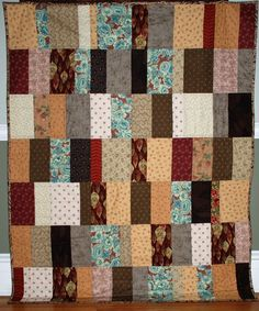 Beautiful Browns with a Hint of Red Quilt by For Comfort on Etsy
