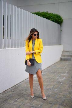 Lemon Yellow Blazer With Grey Skirt Dress fashion yellow style blazer fashion and style womens fashion skirt dress