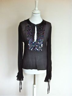 Ungaro Fever Black Silk Tunique Top With Sequins via The Queen Bee. Click on the image to see more!