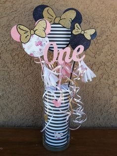 Floral black and white stipes Minnie Mouse first birthday party table centerpieces custom pink black white gold
