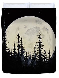 Rocky Mountain Moon Duvet Cover by C Steele Black Background Painting, Black And White Painting, Black Canvas Paintings, Canvas Art, Moon Painting, Painting & Drawing, Black Paper Drawing, Dark Drawings, Charcoal Art