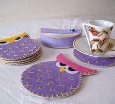 Keçe baykuş bardakaltlığı kahve çay keyfi