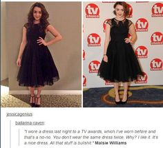 I love her. She doesn't care. It's a nice dress.
