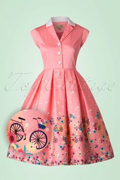 This 50s Gilda Bibcycles Swing Dress is guaranteed to make people happy when they look your way, even if you