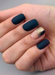 Matte Nail Designs Ideas, Black Nail Designs, Nude Nails With Glitter, Black Nails With Glitter, Simple Gel Nails, Short Gel Nails, Matte Gel Nails, Las Vegas Nails, Modern Nails