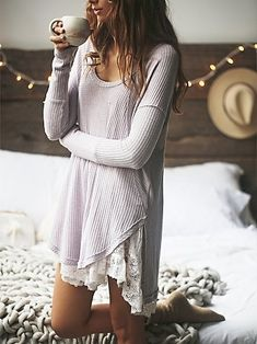 We The Free Ventura Thermal cute with the lace slip underneath - I have a lace slip for fall to go over jeans with boots - I like it under a top like this #weightlossmotivation