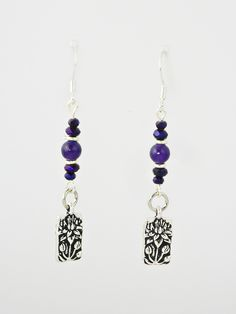 Antique Silver Flowers with Purple Jade & Crystals