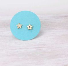 Personalized Initial Earrings Tiny Brass Stars by PureImpressions, $13.00