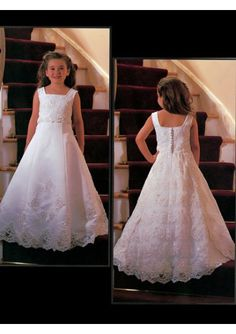 Satin and organza beaded square neckline flower girl dress