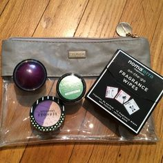 """Sephora grab bag. BNWT tried and true products. Love these Eyeshadows. I have the double shade palette looks great with a wet brush fur eyeliner. """"Hue York no. 4"""". """"Creamy green 10"""" eyeshadow. Bold! Which is trendy this year, make one area bold and stand out!  Plus box of 12 Nomaterra fragrance wipes. These are great for the summer. Cool yourself off while adding a subtle beautiful scent. Clear cosmetic bag (8"""" x 5.5""""). Roller cream blush """"""""out of control no 9). Plus free thank you gift…"""