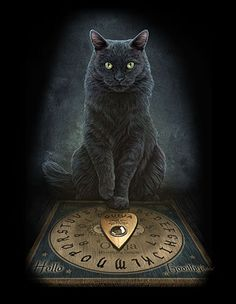 HIS MASTERS VOICE CANVAS ART PRINT by LISA PARKER - Wicca Witch Pagan Goth CAT