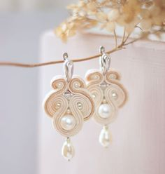 Сутаж серьги `Невеста` с натуральным жемчугом