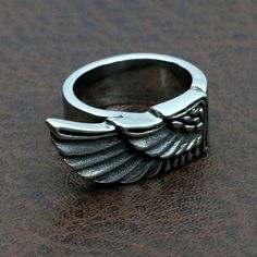 wing ring sterling silver 925 by GeoartSilversmith on Etsy