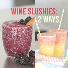 Wine Slushies- 2 ways. what a fun way to get a serving or two of fruit! Use your favorite Missouri wines in these recipes Wine Parties, Party Drinks, Fun Drinks, Alcoholic Drinks, Beverages, Slushy Alcohol Drinks, Wine Cocktails, Summer Cocktails, Cocktail Drinks