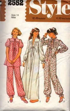 Style 2552 Babydoll Pyjamas Nightgown Onesie Vintage Sewing Pattern Size 14 Bust 36 inches UNCUT Factory Folded