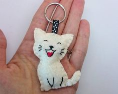 Smiling cat keychain  white kitty  felt accessories  Baby