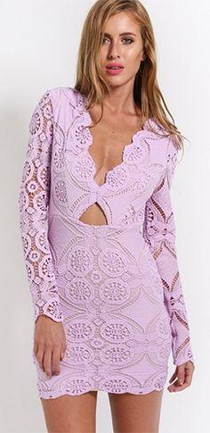Lilac Bouquet Light Purple Lavender Lace Long Sleeve Plunge V Neck Cut Out Bodycon Mini Dress