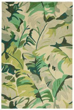 Trans-Ocean Capri Palm Leaf Green Area Rug