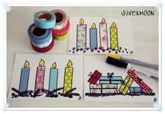 Craft with masking tapes, DIY greeting cards, - DIY Christmas Cards Simple Christmas Cards, Xmas Cards, Diy Cards, Christmas Crafts, Greeting Cards, Washi Tape Cards, Masking Tape, Washi Tapes, Homemade Cards