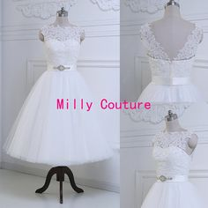 New Modest lace pin up short wedding dress with by MillyCouture
