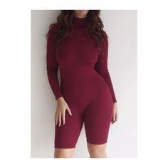 Rotita Wine Red High Neck Mini Bodysuit ($23) ❤ liked on Polyvore featuring intimates, shapewear and wine red