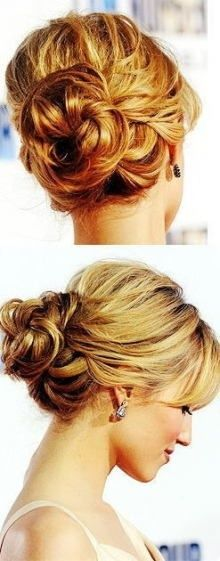 messy bun, tousled bun, soft curls, wedding hair, wedding updo, bridal hair. Maybe for the bridesmaids? Since my hair will be down I think their hair should be an updo.