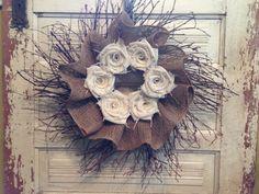 "20"" Twig & Burlap Wreath"