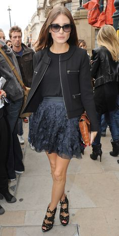 Olivia Palermo style - Daine von Furstenberg skirt, Frank Tell jacket, Dior sunglasses, Charlotte Olympia shoes