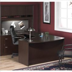 bush furniture corsa series u shape wood home office set with hutch in mocha cherry amazoncom coaster shape home office