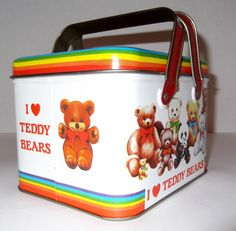 Vintage Carry All Tin Box I love Teddy Bears by SusieSellsVintage, $15.00