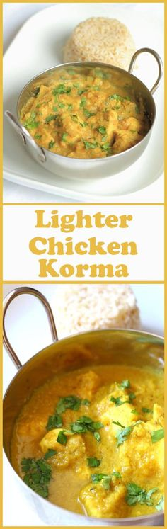 This fantastic lighter chicken korma recipe is perfect for those of us watching our waistlines! At just over 300 calories per portion, it doesn't contain any cream, but it does contain the same delicious taste and creaminess of the original recipe. I promise you that!
